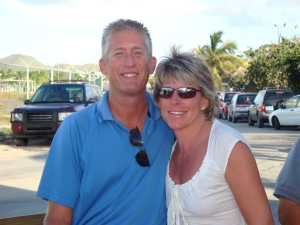 Dee and Ron at Sunset Beach Bar in St. Maarten
