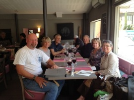 Having lunch in Perpignan with Brad, Chris, Jerry, Eileen, Ron and me.