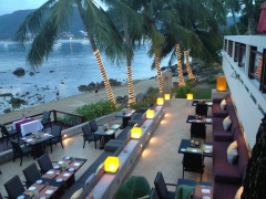 Sunset over Patong Beach at a nice restaurant.