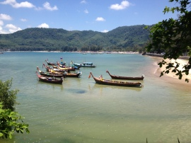 Longtail boats at Nai Harn Beach