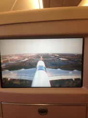 Tail cam showing our landing into Heathrow airport.